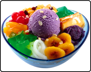 Halo Halo is a mixture of shaved ice and evaporated milk to which various boiled sweet beans and fruits are added.